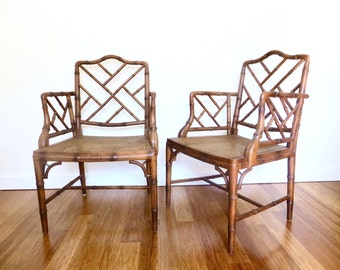 Pair of Faux Bamboo Chinese Chippendale Cane Armchairs, Chinoiserie Armchairs, Hollywood Regency Chairs Set of 2