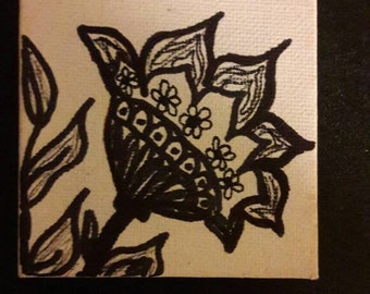 Folk art ink drawing, illustration, folk lore ink sketch, floral canvas,mini canvas 7x7 cm. black and white, flower sketch, ink sketch.