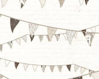Sepia bunting A4 digital paper epaper download just 49p shabby chic craft paper