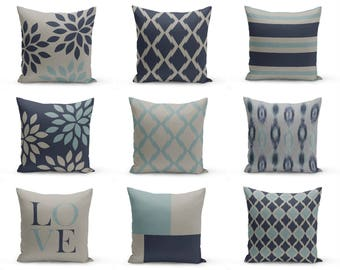 """Throw Pillow Covers, Navy Blue Grey , 18"""" Cushion Covers, Accent Pillow Covers, Home Decor, Choose patterns for front and back!!!"""