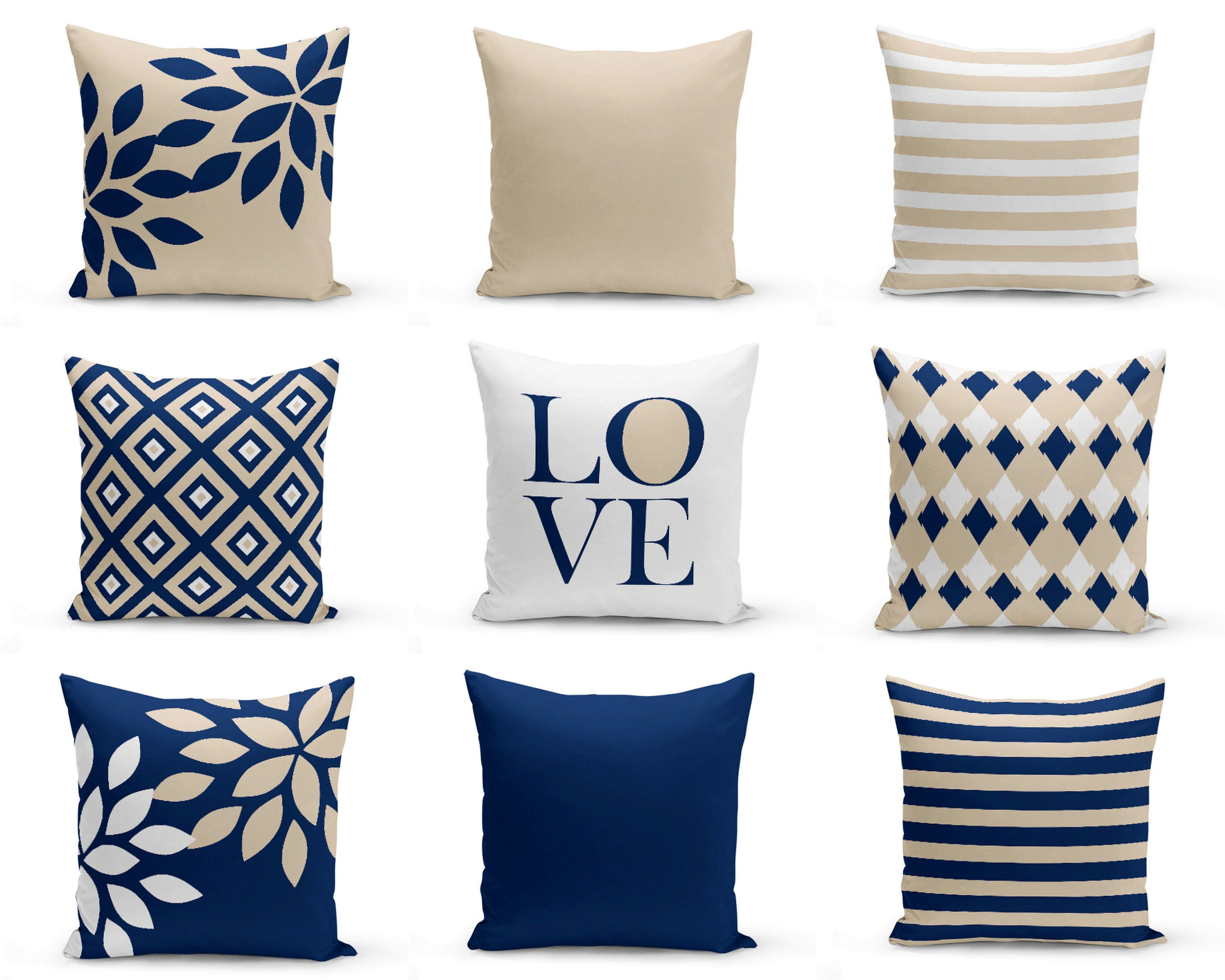 Navy blue and yellow decorative pillows - Navy Throw Pillows Pillow Covers Cushion Cover Home Decor Mix And Match