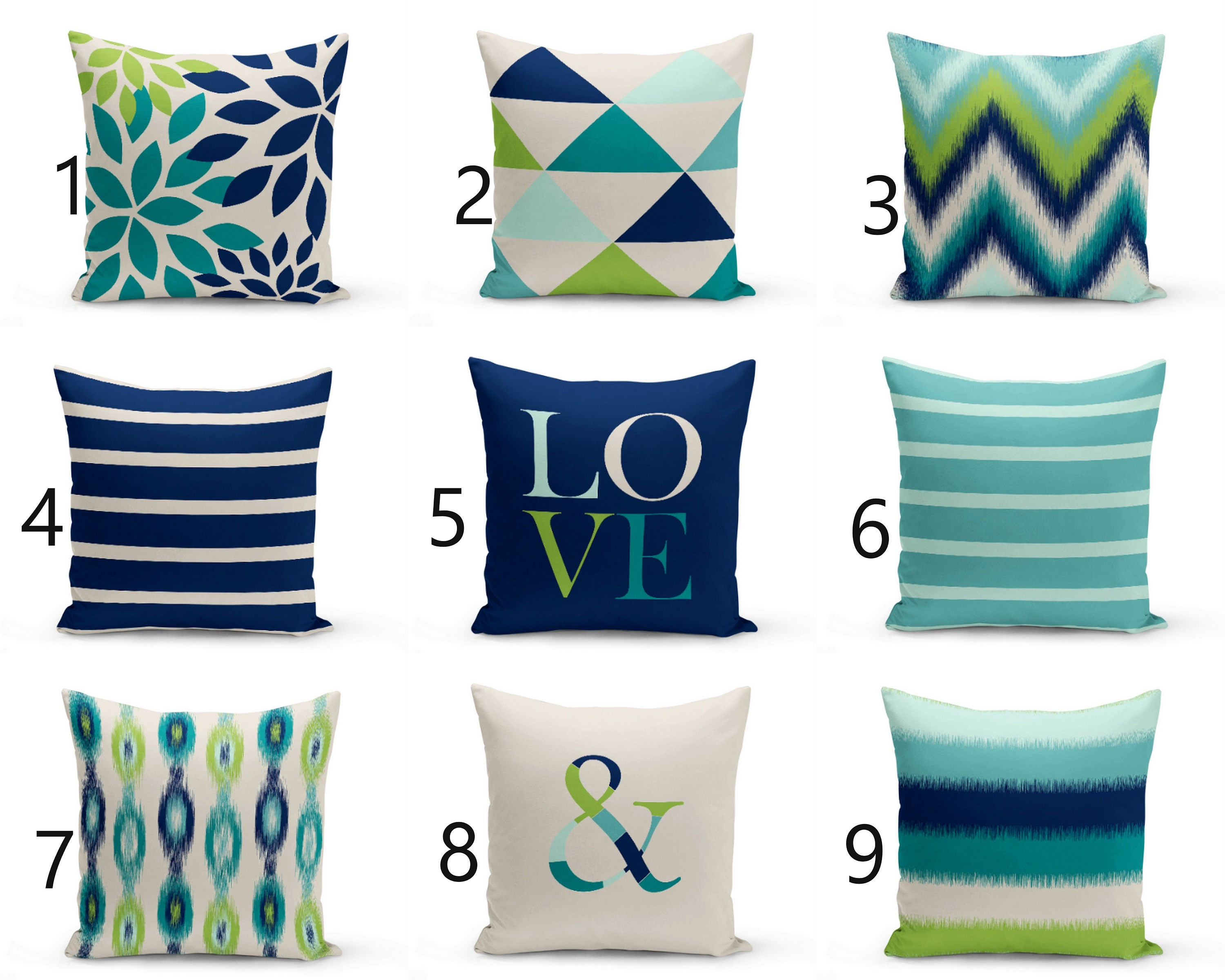 Navy And Teal Throw Pillows: Throw Pillow Covers Navy Teal Aqua Beige Green Home Decor