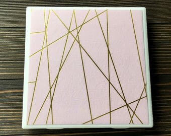 Mid Century Mod Coasters, Pink and Gold Foil Coasters, Modern Gold Foil and Pink Coasters, Set of 4 Coasters
