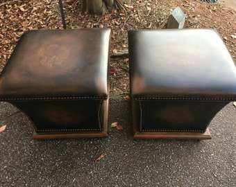 MidCentury Leather Ottomans