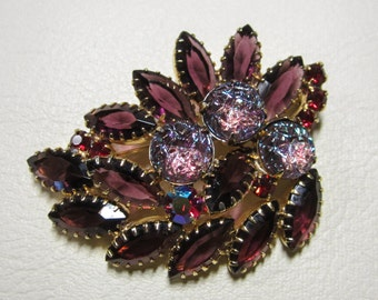 Vintage Jewelry - Rhinestone Brooch Pin - Purple Molded Lava Rhinestones - Purple and Red Rhinestones