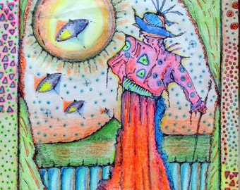 Eye In The Sky~Peter Max Inspired~Sage with Saucers~Mushrooms~Psychodelic Original Drawing~UFOs~Sci Fi~Weird