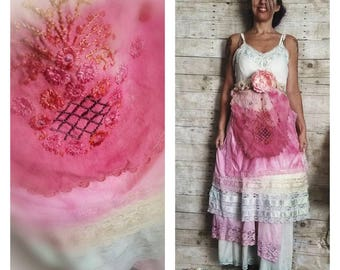 Pink Sunshine Shabby floral sherbet lace antique layered peasant repurposed country ruffle Boho altered mori maxi slip Dress romantic