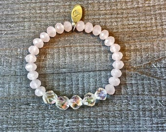 Rose Spring Beaded Stretch Bracelet