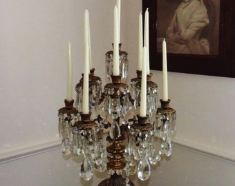 """Antique French Bronze Candelabra Candelabrum LARGE 28""""  19c Louis XV Rococo Candle Holders w/ Prisms Lusters Lustres Table Chandelier"""