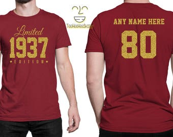 1937 GOLD Limited Edition 80th Birthday Party Shirt, 80 years old shirt, limited edition 80 year old, 80th birthday party tee shirt