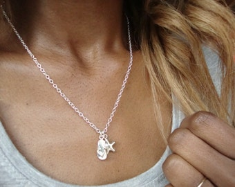 Sterling Silver necklace flip flops & Starfish necklace Jewelry 21st Birthday Gift for her Shoe necklace Charm Necklace