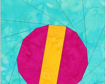 Toy Ball 10 Inch Paper Piece Foundation Quilting Block Pattern