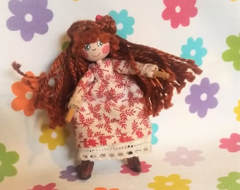 Handcrafted OOAK wooden Dillydolly: - Pippa Potts - collectable dolly or dolls house toy