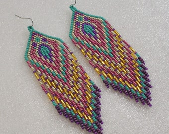 Long Indian style beads earrings ,  tribal style , boho style, Native American Beaded Earrings