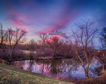 Fine Art Print | Pond at Sunset, Sunset Photography, Nature Photograph, Fine Art Photograph, Pond Photo Print, Wall Art, HDR, Pink, Sky