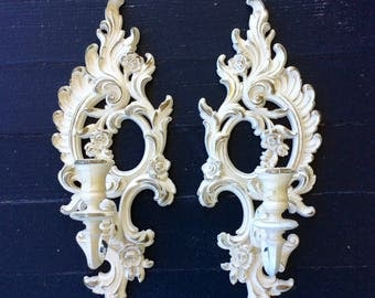 Vintage Pair of Ornate, White & Gold Syroco Wall Sconces, Candleholders, Floral, 1960's, Hollywood Regency, French Country, Shabby Chic