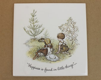 "Vintage Ceramic Trivet, ""Happiness is Found in Little Things"", Square Trivet, Wall Tile Trivet, Wall Tile"