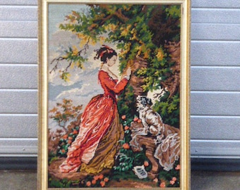 the canvas SALES AMOUR according FRAGONARD, hand made embroidery, vintage 1970, finished and framed