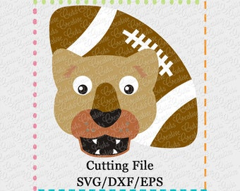 EXCLUSIVE SVG eps DXF Cutting File Cougar Football svg, mascot svg, cougar svg, panther svg, football svg, nittany lion svg, cougar cut file