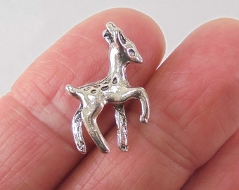 8 pc. Deer Fawn charm, 22x13x4mm, shiny antique silver finish