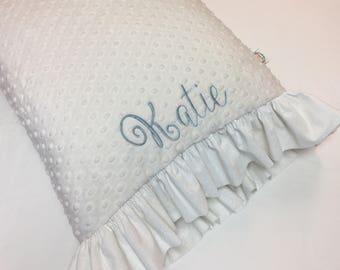 Cream colored Pillowcase made with Cream Minky Dot with Cream Paisley Print Ruffles