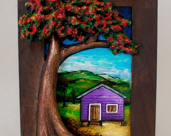Puerto Rican Landscape with Recycled Paper flamboyant tree II