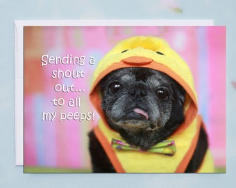 My Peeps 5x7 Pug Easter Card by Pugs and Kisses