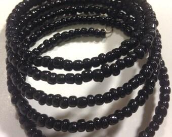 Black Bead Wrap Bracelet