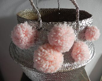 basket ball, basket Thais, silver, powdered pink PomPoms