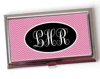 Monogram Business Card Case - Chevron Monogram Business Card Holder - Pink Business Card Case