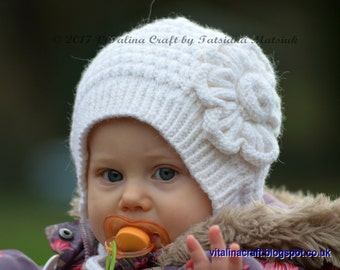 Knitting Pattern - Snowy Flower Bonnet (Baby and Toddler sizes)