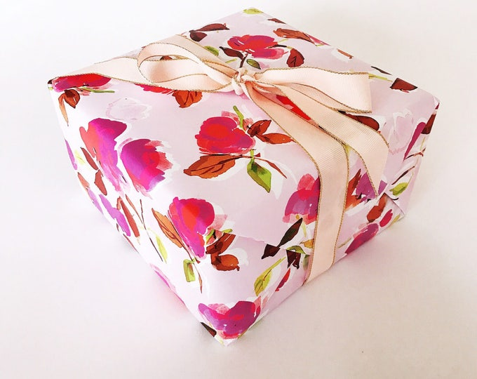 Dizzy Pink Floral Gift Wrap