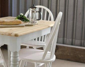 Now Sold/Farmhouse kitchen dining table, rustic kitchen table and chairs, painted furniture, four seater kitchen table, Farrow and Ball