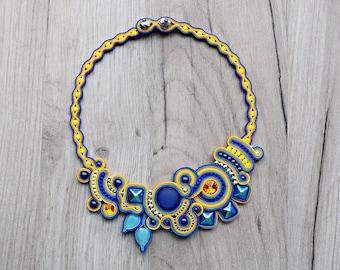 Colorful soutache necklace. Handmade OOAK soutache jewelry.