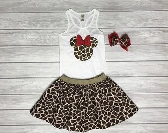 Minnie Giraffe Print Set, Animal Kingdom Outfit, Girls' Outfit, Minnie Safari Outfit, Animal Kingdom