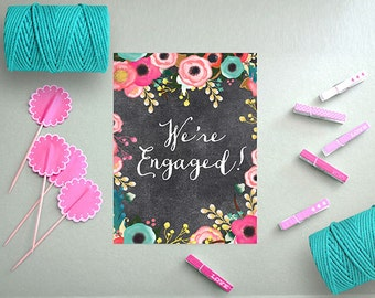 Engagement Party Invitations / PRINTED Chalkboard Engagement Cards / Spring Weddings or Boho Bohemian Weddings