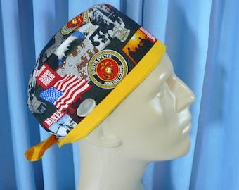 XL MARINE CORPS Sempre Fi Men's Cotton Scrub Hat / Short Hair Scrub Cap /  Chef Hat / Skull Cap. Tie Back Style. Cotton.