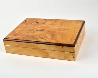 25 ct Luxury Piano Finish Wood Cigar Humidor Burl wood veneer W/ Cedar Lining