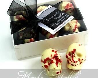 Blood Splattered White Chocolate Skull Gift Box - Skull Lover -  Birthday Gift - Halloween Chocolate - Gory Chocolate - Foodie