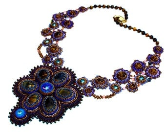Necklace with pearls. Starlit night.