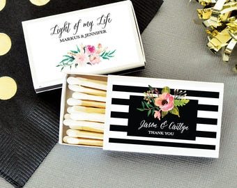 Wedding Matches 50ct Vintage Wedding Matches Favor, Floral Wedding Favors, Match Boxes, Bridal Shower Favors, Anniversary Favors, 3101GDN