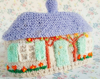 Vintage knitted tea cosy | Tea cozy | Pastel tea cosy | Novelty tea cosy | Cottage tea cosy