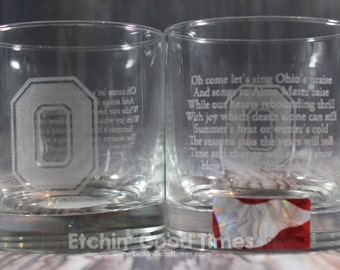 Ohio State Rocks Glass - Officially licensed Ohio State Carmen Ohio Rocks Glass Set of 2