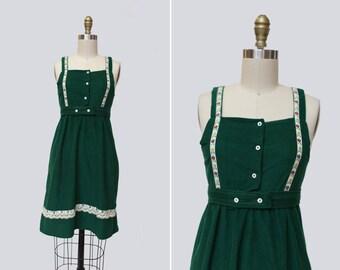 1960s Gretel Velvet Dress { XXS } Vintage 60s Dirndl Mini Dress