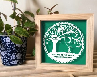 Welcome to the world, new baby, handmade Paper Cutting. Personalise it for free!