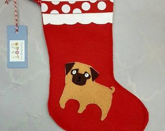 Pug Christmas Stocking, pug ,  dog Christmas, pug Christmas, pug stocking, pug sock, decorations, Christmas sock,   pet lover gift,