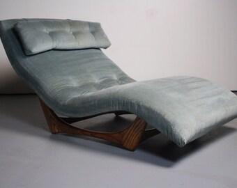 Beautiful Sky Blue Mid Century Wave Chaise Lounge Chair Designed by Adrian Pearsall