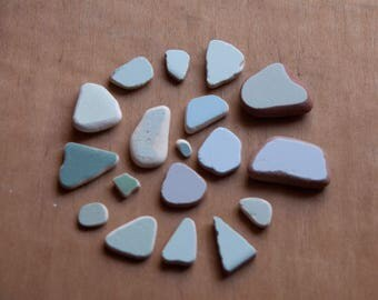 Set of 18 sea stones. tile work from the sea, Pastel-colored shards. Sea stones. Sea tiles, pottery beach, for necklaces or mosaics