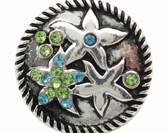 KB6838  Silver Sea Star Snap Set in Antique Silver and Rhinestones