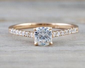 14k Rose Gold Solitaire Cushion Moissanite Diamond Engagement Promise Ring Charles & Colvard 4.5mm